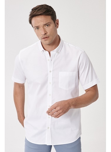 Beymen Business Regular Fit Armürlü Gömlek 4B2020200117 Beyaz